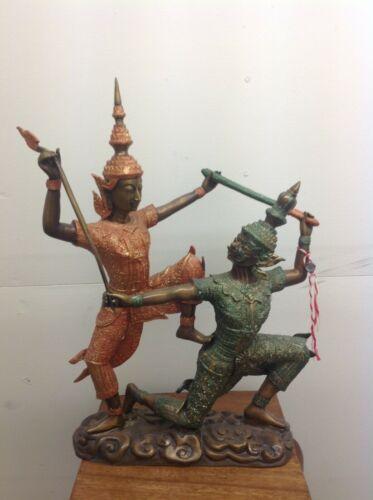"""Asian Thai warrior @ battle w/ """"monkey faced warrior"""" bronze Statue"""