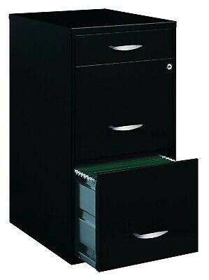 Filing Cabinet 18w 3-drawer Organizer File Black 29.300h X 16.250w X