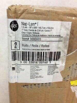 Gbc Standard Laminating Roll Film 1.5 Mil - 18x500 2 Rolls Clear 3000003