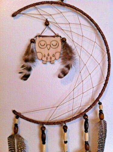 "Cherokee Handmade Dream Catcher ""Owl in the Moon"" Black & Tan Wood Beads"
