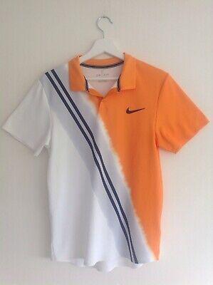 Nike Court Dri Fit Tee Shirt Size Small Orange White Black Short Sleeve