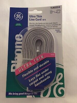 GE 50ft Telephone Ultra Thin Line Cord Gray TL 96325
