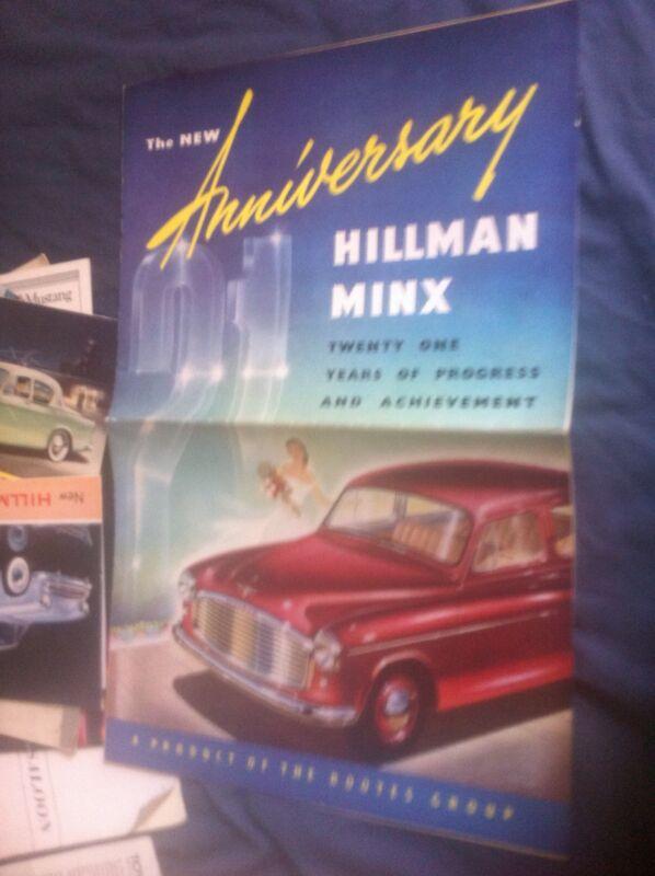 1953 Rootes Hillman Minx Large Color  Brochure Prospekt