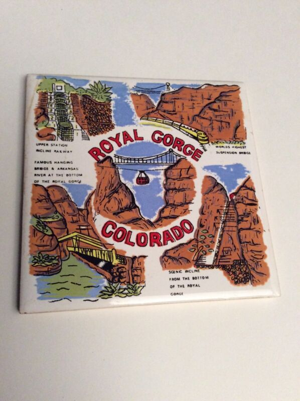 Vintage Trivet Ceramic Accent Wall Tile Royal Gorge Colorado Scenic Incline AA