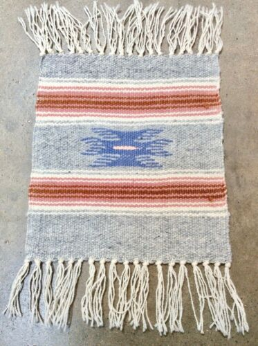 Chimayo Rug, Mat Southwest New Mexico Vintage Handwoven Gray Textile Wool 9x10