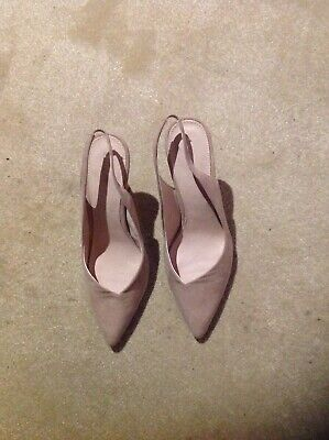Beige Suede Look Sling Back shoes with 4