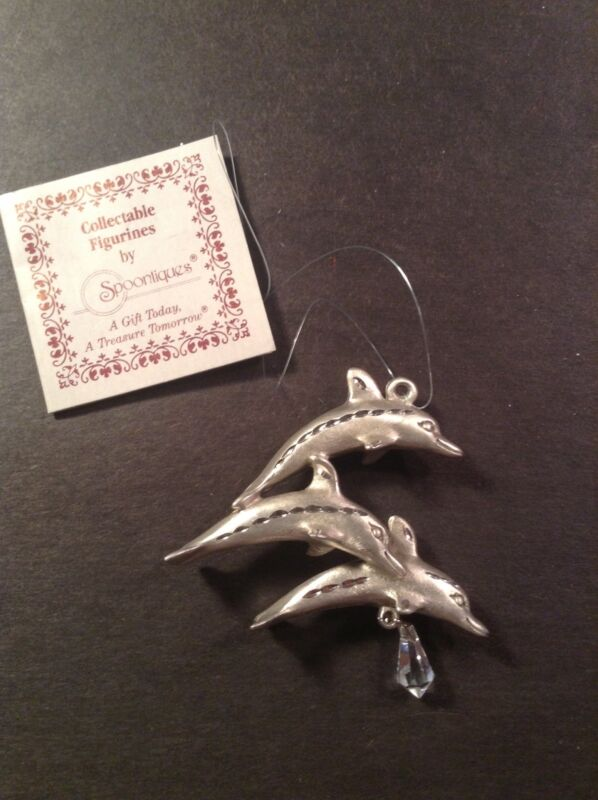 NWT Pewter Leaping Dolphins Ornament w/Crystal Signed Spoontiques 2310