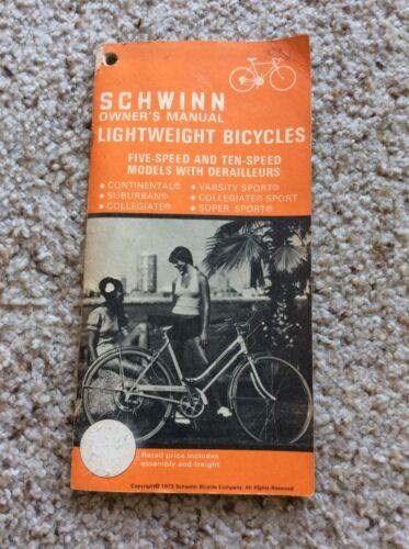 1973 Schwinn Lightweight bicycles original factory printed owners manual