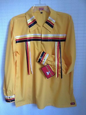 NATIVE AMERICAN REGALIA* NAKODA MADE* Pow Wow YELLOW Ribbon Shirt SIZE  35-39