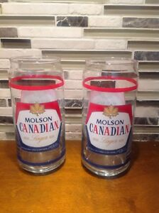 Vintage Logo Molson Canadian Beer can shaped glasses set of 2