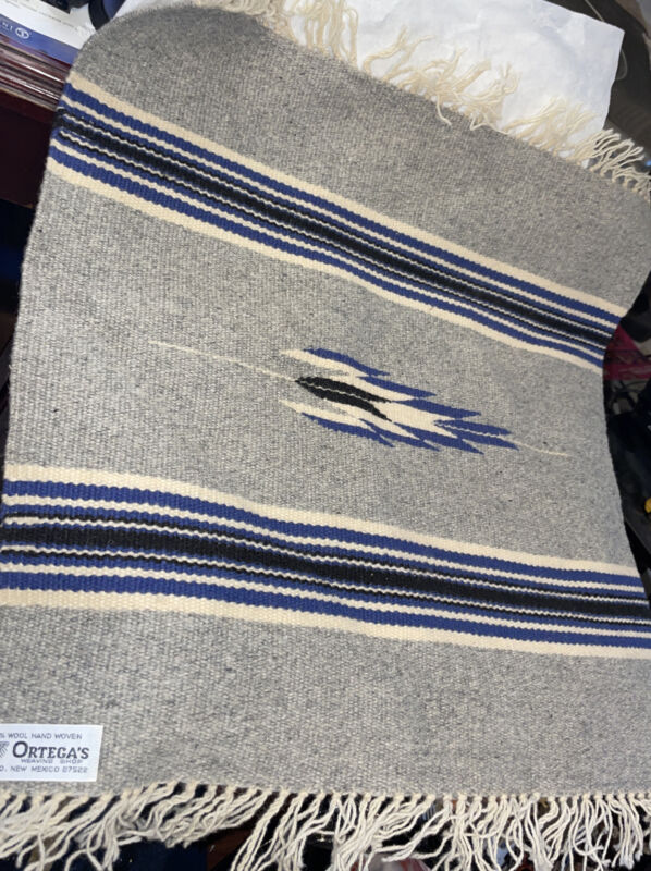 "Wool Ortegas's Chimayo New Mexico Hand Woven Native American Rug Blanket 18x18"""