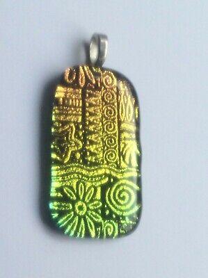 Dichroic Design - Dichroic Fused Glass Pendant -  Sunny Golden Design
