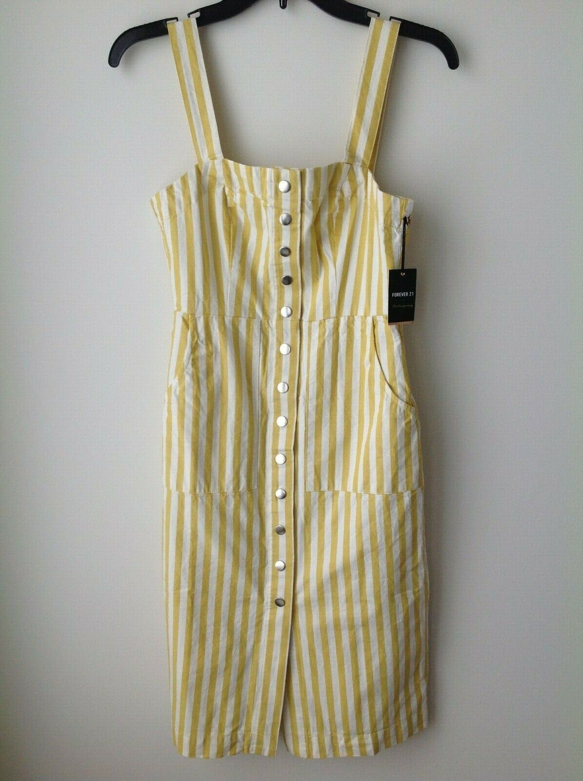 NWT Forever 21 Citron Ivory Striped Button Front Midi Dress