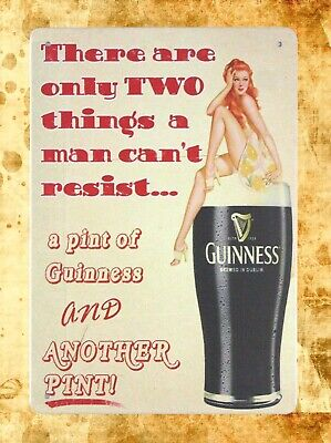 US Seller-retro home decor  pint of Guinness pin-up sexy girl tin metal - Retro Decorations