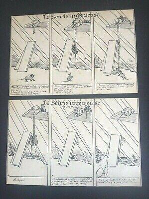 Lot de 2 Cartes Chat dessin original encre de chine la souris ingénieuse
