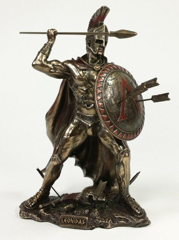 """8"""" LEONIDAS Greek Warrior SPARTAN KING Statue W Spear & Arrows in Hoplite Shield"""
