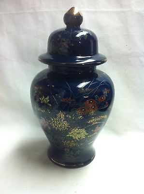 TOYO- Cobalt Blue Urn with Gold and Rust Colored Flowers and Birds