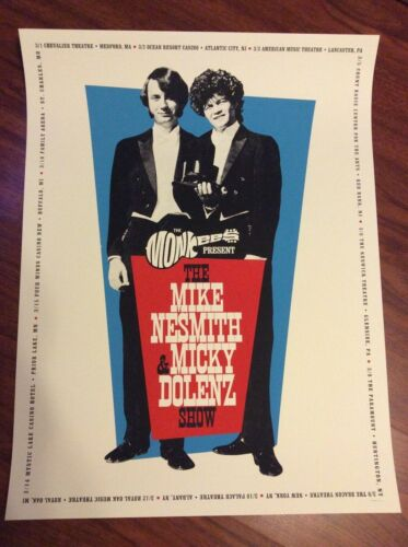 THE MIKE NESMITH & MICKY DOLENZ SHOW OFFICIAL TOUR POSTER LITHOGRAPH THE MONKEES