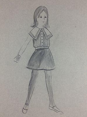 Vintage Fashion Designs Child Sketch Illustration New York Designer 60-70's