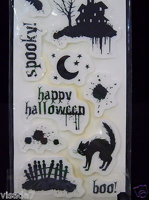 Boo Spooky Halloween Rubber Stamp Set Cloud 9 Design 10 Cling Black Stamps NWT