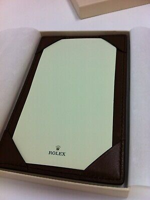 Rolex Jotter Brown Leather Note Pad Wallet In Box