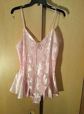Janette Pink Satin Vintage Teddy, Size L
