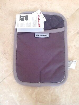 KITCHEN AID POT HOLDER GRAY RECTANGLE SILICONE PATCH  (1) 100% COTTON  -