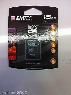 - Carte mémoire Emtec Micro SD HC SDHC 60X 16go 16gb 16 go gb Class 4 + Adaptateur