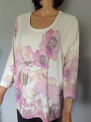 Chicos Cotton Knit Top L Women Clothing Floral Pastel Designer Fashion Stylish