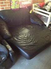 Cool Black Leather Chaise Lounge a Chair sofa Stanhope Gardens Blacktown Area Preview
