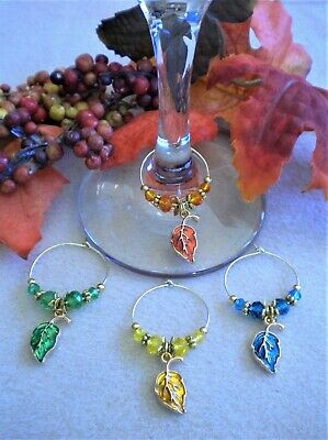 Thanksgiving Table Decor Ideas (4 Enamel Wine Glass Charms Fall Leaves - Gift Idea or Thanksgiving Table)