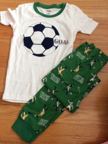 "NWT Gymboree Boys ""Goal"" Soccer Ball Pjs Pajamas Gymmies 2pcs Size 7 8 12"