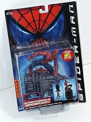 SPIDER-MAN Movie Super Poseable Action Figure w/ Gargoyle Ledge 2002 Toy Biz for sale  Shipping to India