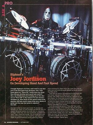 2007 Print Article of Joey Jordison Slipknot ask a pro hand & foot speed