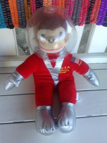 "Curious George Toy Network 14"" Plush Astronaut USA Red Suit Stuffed Toy *RARE*"