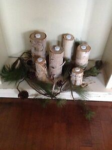 6 real birch wood logs with battery operated lights.