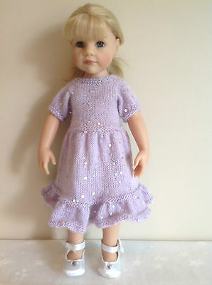 """Dolls clothes knitting  pattern. 18"""" doll. Glitter party dress and shawl. KNM73"""