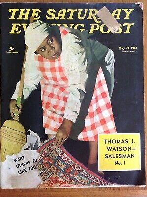Saturday Evening Post 1941 May 24~black maid puts dirt under rug~advertising men