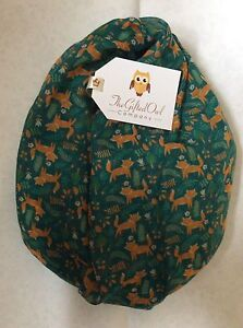MONTY FOX GREEN QUIRKY PRINTED ANIMAL FOREST WOODLAND SCARF SHAWL WRAP NEW GIFT