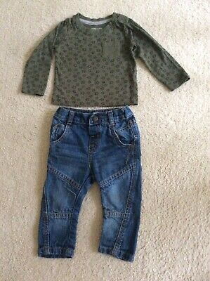 CUTE BABY BOY COTTON KHAKI & STARS LONG SLEEVE TOP & JEANS SET AGE 6-9 MONTHS  comprar usado  Enviando para Brazil