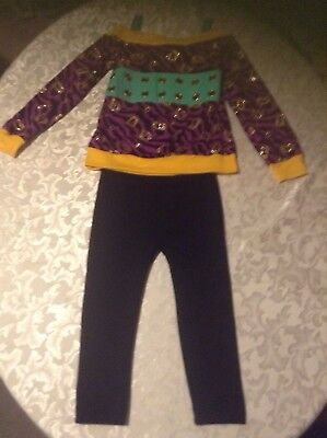 Monster High costume top zebra print&black pants Size 8/10 outfit set Girls