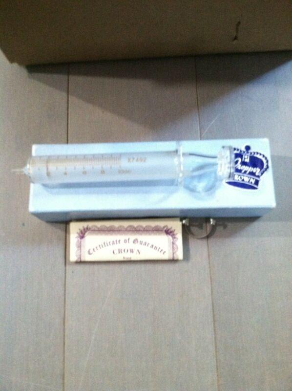 Vintage Luer Glass Tip Hypodermic Syringe 10cc- Propper Crown