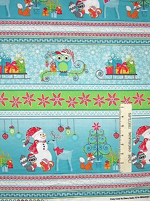 Forest Snowman - Christmas Fabric - Frosty Forest Snowman Stripe Blue Green - Benartex LAST YARD
