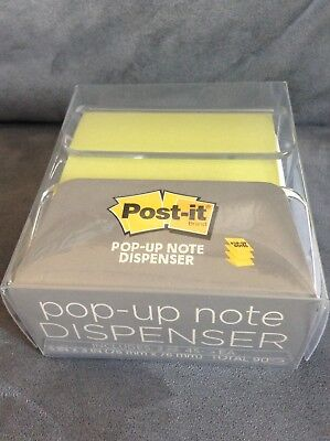 Post It Pop Up Note Dispenser 3 X 3 White With Green Notes - New
