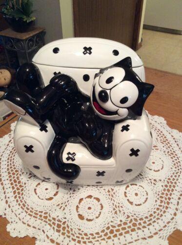 Felix The Cat Cookie Jar Clay Art Porcelain 1997 Setting Black White