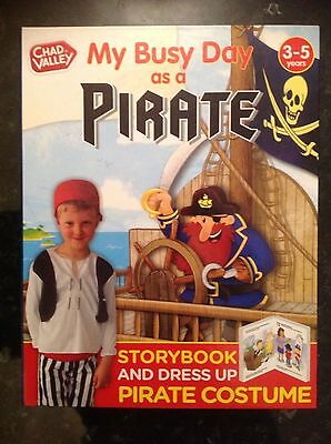 Dress Up Costume & Story Book My Busy Day As A Pirate By Chad Valley Age 3-5yrs