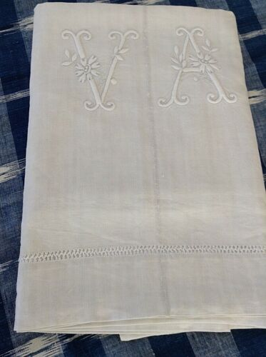 Antique Vintage French  Homespun Linen Sheet Hand Embroidered Ladder and Mono VA