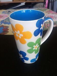WHITTARD OF CHELSEA Large Latte Coffee Tea Mug. Handpainted Flowers. Brand New