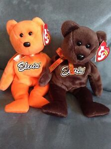05bbeb66ad9 TY BEANIE BABY ELVIS REESES BEARS BROWN   ORANGE WITH TAGS (RARE SET)