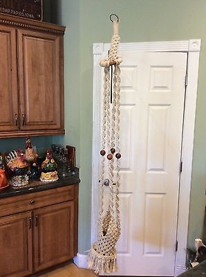 "White Macrame Plant Hanger Hanging Planter 66"" Wood Beads"